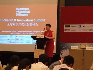 U.K. IP Minister Baroness Neville-Rolfe speaks at Global IP & Innovation Summit in Shanghai